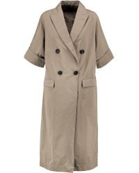 Brunello Cucinelli Multicolor Gabardine Trench Coat