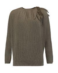 Brunello Cucinelli Multicolor Cutout Ribbed Cashmere Sweater
