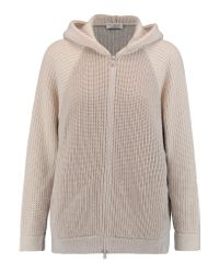 Brunello Cucinelli Gray Two-tone Ribbed-knit Cashmere-blend Hooded Cardigan