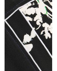 Proenza Schouler - Black Leather-trimmed Printed Silk Crepe De Chine Blouse - Lyst