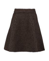 Proenza Schouler Brown Knitted Silk-blend Skirt