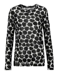 Proenza Schouler | Black Printed Slub Cotton-jersey Top | Lyst