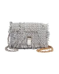 Proenza Schouler Gray Courier Extra Small Leather-trimmed Tweed Shoulder Bag