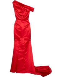 Roland Mouret Red Seneca Cross-back Satin Faille Gown