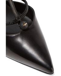 Rene Caovilla Black Embellished Leather Pumps