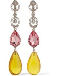 Oscar de la Renta | Pink Silver-tone Crystal Clip Earrings | Lyst