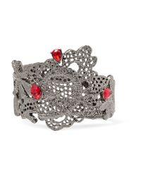 Oscar de la Renta | Red Lace Silver-tone Crystal Bracelet | Lyst