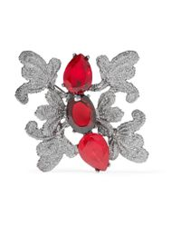 Oscar de la Renta | Red Lace Silver-tone Crystal Brooch | Lyst
