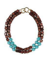 Kenneth Jay Lane - Blue Wood And Faux Turquoise Necklace - Lyst