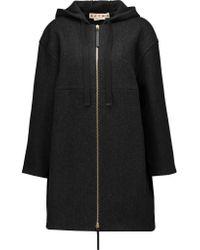 Marni Black Herringbone Wool-blend Hooded Coat