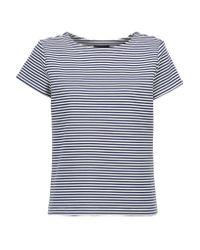 Theory   Blue Laveneg Striped Cotton-blend T-shirt   Lyst