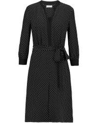Tory Burch Black Judi Polka-dot Silk Crepe De Chine Dress