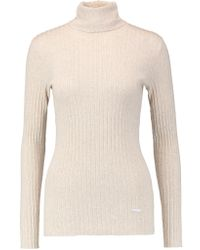 Tory Burch Natural Ribbed Cotton Turtleneck Sweater