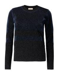 Tory Burch Blue Striped Metallic Wool-blend Sweater