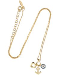 Aamaya By Priyanka | Metallic Anchor Heart Gold-plated, Topaz And Sapphire Necklace | Lyst