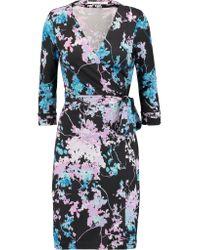 Diane von Furstenberg Black New Julian Printed Silk Wrap Dress