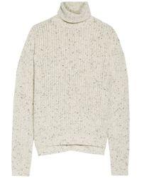 J Brand | Multicolor Fernwood Faux Leather-trimmed Wool-blend Turtleneck Sweater | Lyst