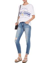 Zoe Karssen White Printed Modal And Cotton-blend Jersey T-shirt