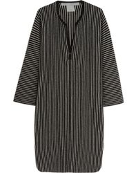 Raquel Allegra | Black Striped Merino Wool And Cashmere-blend Dress | Lyst