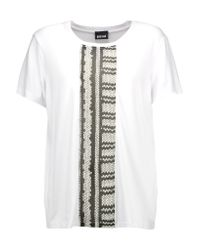 Just Cavalli | White Printed Georgette And Stretch-jersey T-shirt | Lyst