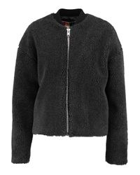 MSGM Gray Ribbed Knit-trimmed Faux Shearling Bomber Jacket
