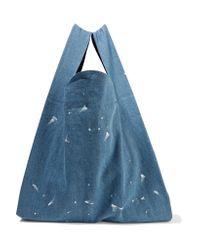 MM6 by Maison Martin Margiela - Blue Paint-splattered Denim Tote - Lyst