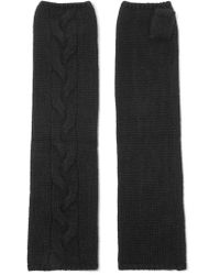 N.Peal Cashmere | Black Cable-knit Cashmere Fingerless Gloves | Lyst