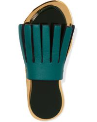 Marni | Green Resin, Gold-tone And Leather Brooch | Lyst
