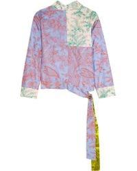 Jonathan Saunders Multicolor Helen Printed Silk-twill Wrap Top