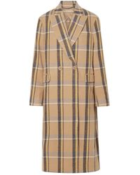 Stella McCartney Oversized Double-breasted Checked Wool Coat Light Brown
