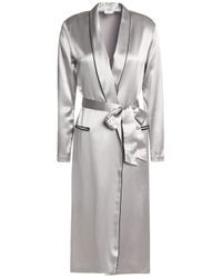 Fleur du Mal Metallic Woman Silk-satin Robe Silver