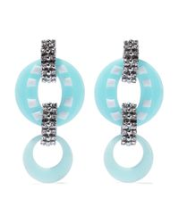 DANNIJO Armie Silver-tone, Crystal And Resin Earrings Sky Blue