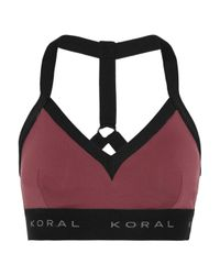 Koral Red Stretch-jersey Sports Bra