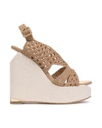 Paloma Barceló Natural Sling Back Wedge Sandals