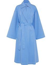 Rosetta Getty Cape-back Cutout Stretch-cotton Trench Coat Light Blue