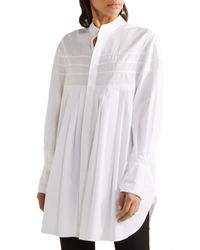 CALVIN KLEIN 205W39NYC - White Belted Pleated Cotton-poplin Tunic - Lyst