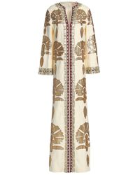 Tory Burch White Leather-appliquéd Embellished Linen Maxi Dress Ivory