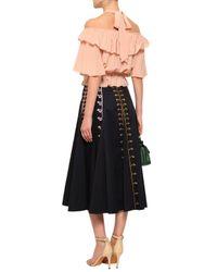 Temperley London Flared Embroidered Cotton-poplin Midi Skirt Midnight Blue
