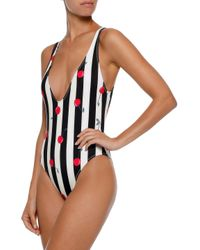 Solid & Striped The Michelle Printed Swimsuit Black