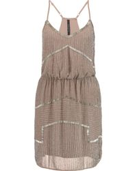 W118 by Walter Baker Brown Destiny Bead-embellished Chiffon Mini Dress