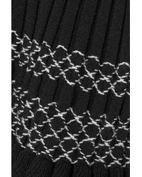 Altuzarra Malou Embroidered Ribbed-knit Top Black