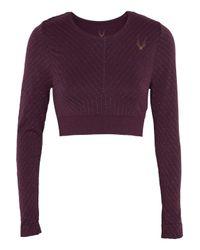 Lucas Hugh Purple Cropped Metallic Stretch-knit Top