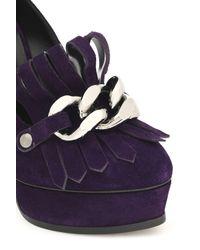 Casadei - Purple Chain-embellished Fringed Suede Platform Pumps - Lyst