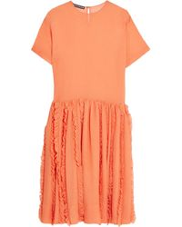 Rochas Orange Pleated Hem Crinkled-silk Dress