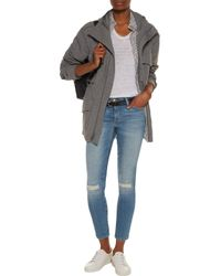 Current/Elliott Blue The Stiletto Distressed Mid-rise Skinny Jeans