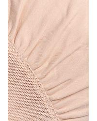 Skin Pink Vivian Mesh-paneled Stretch-pima Cotton Sports Bra