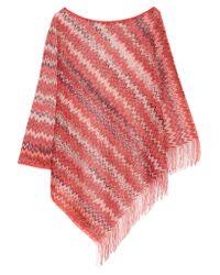 Missoni - Red Fringed Crochet-knit Poncho - Lyst