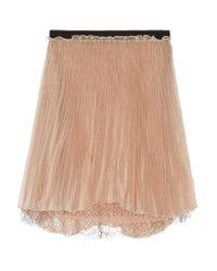 Valentino Multicolor Layered Plisse Silk-organza Mini Skirt
