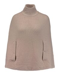 Halston | Natural Ribbed Wool Turtleneck Poncho | Lyst