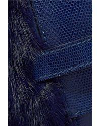 Valentino Blue Calf Hair And Lizard Clutch